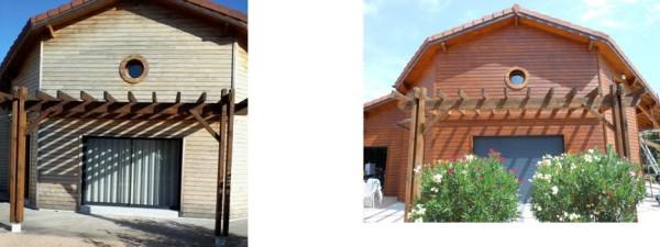Maison bois avant et après application de lasure